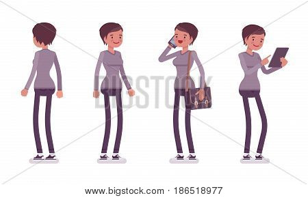 Set of young woman, smart casual dressing, skinny jeans, holding messenger bag, standing pose, using gadget, front, rear view, vector flat style cartoon illustration, isolated, white background