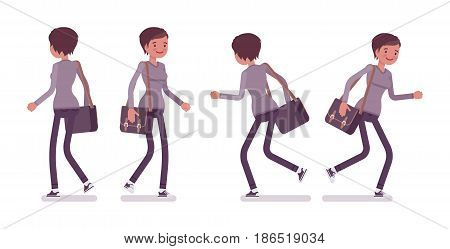Set of young woman, smart casual dressing, skinny jeans, holding messenger bag, walking and running pose, front, rear view, vector flat style cartoon illustration, isolated, white background