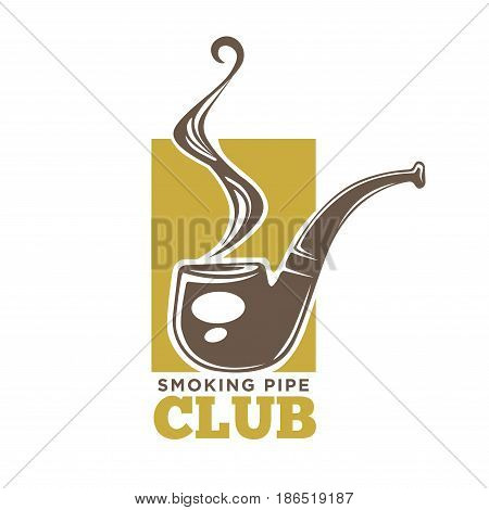 Smoking pipe club colorful logotype isolated on white. Vector illustration in flat design of label for entertaining establishment for real men. Badge with tobacco pipe against yellow rectangular