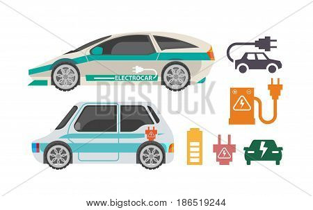 Electrocars and ways of charging colorful poster on white. Vector illustration in flat design of two electric automobiles and symbols of refueling using batteries. Clean environment template