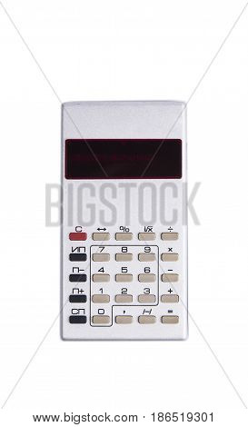 Old silver calculator made by USSR with red display on white background