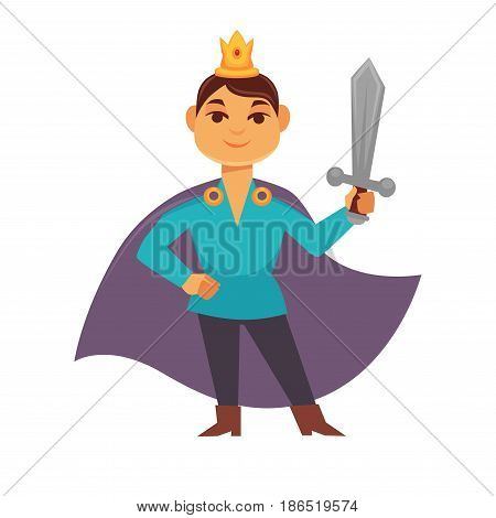 Prince fairytale cartoon character, brave medieval hero with weapon, armed noble boy. Knight with crown on head in mantle raincoat holds sword in hand vector illustration isolated on white background.