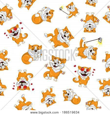 Vector seamless pattern of cartoon ginger cats. Isolated on white background. You can use this ornament for printing on textile or gift wrap and wallpapers.
