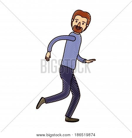 color crayon stripe cartoon full body male person with beard and moustache running vector illustration