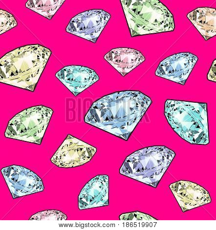 Bright sparkling brilliant on a pink background. Seamless pattern. Realistic graphic illustration.