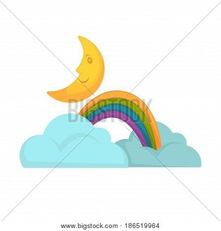 Rainbow in clouds and moon vector illustration isolated on white. Colorful natural phenomena in flat style for web design. Weather objects for decorations in fairytales. Weather forecast icons