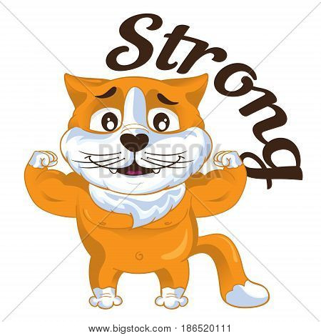 Cartoon vector ginger strong cat shows his biceps. Vector illustration.