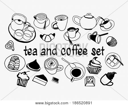 Tea Coffee and Desserts doodles Hand drawn Sweet collection set with tea pot coffeecups mugs piece of cake and other dishes. Black and white sketch illustration.