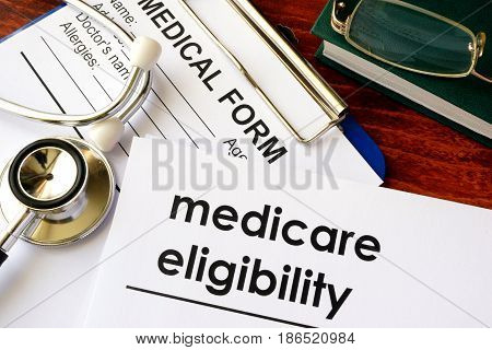 Document with title medicare eligibility and medical form.