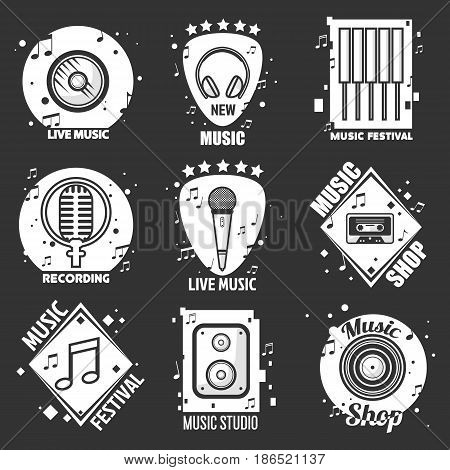 Live music festival, shop and recording studio emblems set. Vinyl record, old-fashioned headphones, control panel, vintage and modern microphones, cassette and retro player vector illustrations.
