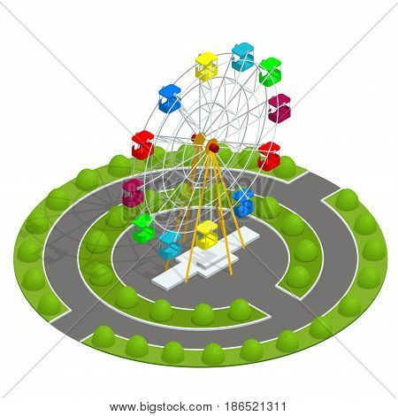 Isometric Amusement park with ferris wheel. Family Holiday Vacation concept. Flat vector illustration.