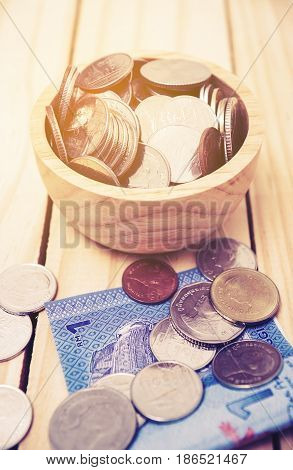 Saving money and account finance bank business concept Vintage style