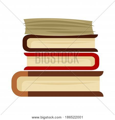 Pile of books vector illustration isolated on white background. Book stacks in hardcover, concept of education and getting knowledge. Encyclopedias and dictionaries in flat design cartoon style