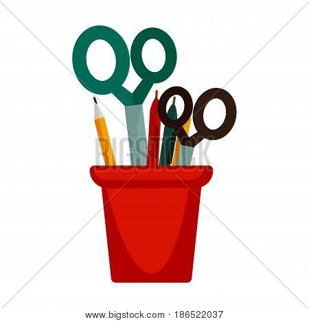 Colorful stationery in special red cup isolated on white. Vector illustration in flat design of green and black scissors, pencils and pens for writing and drawing. Office supplies collection template