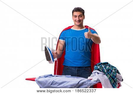 Super hero man husband ironing isolated on white