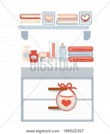 Chest of drawers with cosmetics, pile of towels and books with photos on hanging shelves. Part of room for girl with all necessary equipments and furniture vector colorful illustration in flat design