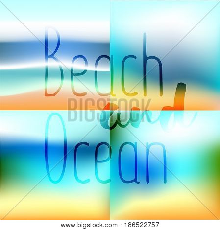 Summer set background gradient mesh beach and ocean. Background for travel cards.