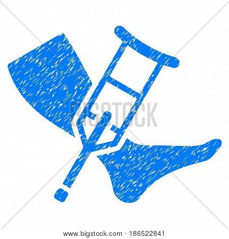 Grunge Leg And Crutch icon with grunge design and unclean texture. Unclean vector blue pictogram for rubber seal stamp imitations and watermarks. Draft emblem symbol.