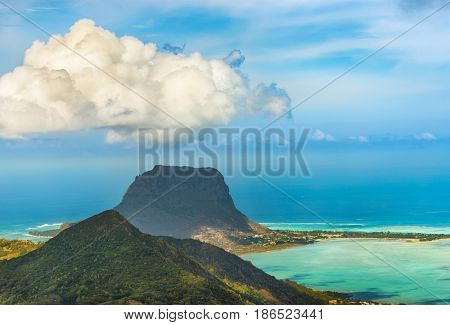 View from the viewpoint. Le Morne Brabant on background. Mauritius.