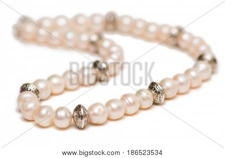 Jewellery necklace isolated on the white background