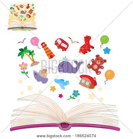 Vector illustration of an open book and the knowledge that it contains. Book is a symbol of knowledge, education