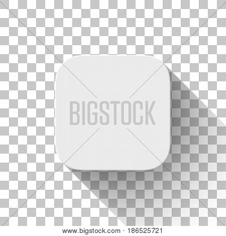 White icon, blank button template, mock-up with flat designed shadow and transparent background for design concepts, apps, , applications, internet sites, web, user interfaces, UI. Vector.