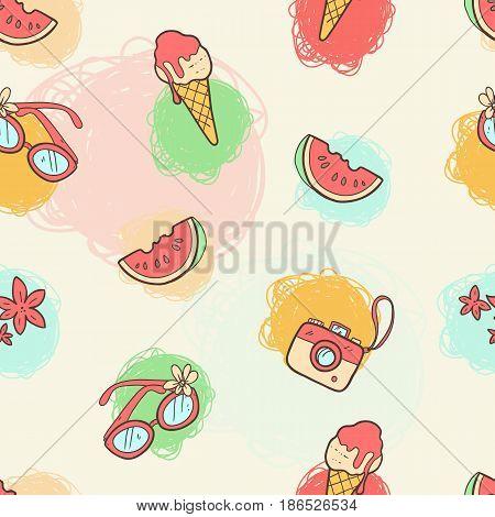 Vector seamless summer pattern. Bright cute cartoon style. Summer things - ice-cream, sun glasses, watermelon. Pop art