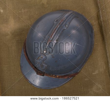 a french military helmet of the First World War