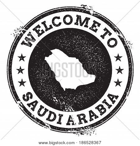 Vintage Passport Welcome Stamp With Saudi Arabia Map. Grunge Rubber Stamp With Welcome To Saudi Arab