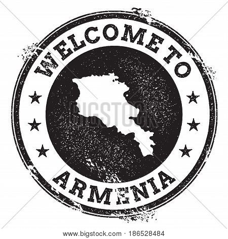 Vintage Passport Welcome Stamp With Armenia Map. Grunge Rubber Stamp With Welcome To Armenia Text, V