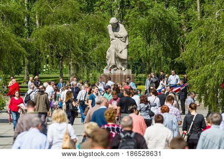 BERLIN - MAY 08 2016: Victory in Europe Day. Soviet War Memorial and military cemetery in Berlin's Treptower Park. The central avenue to the sculpture Motherland.