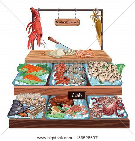 Seafood market concept with caviar mussel scallop shrimp octopus shellfish lobster squid crab oyster meat on counter vector illustration