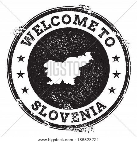 Vintage Passport Welcome Stamp With Slovenia Map. Grunge Rubber Stamp With Welcome To Slovenia Text,