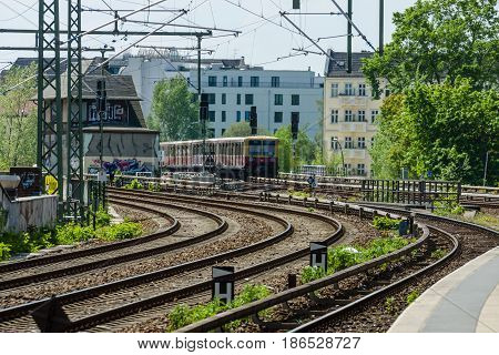 BERLIN - MAY 08 2016: S-Bahn train platform. The Berlin S-Bahn is a rapid transit railway system in and around Berlin.