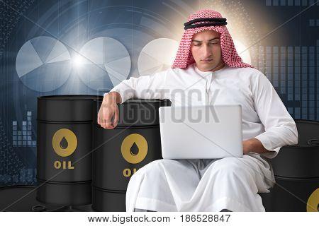 Arab businessman trading crude oil on laptop