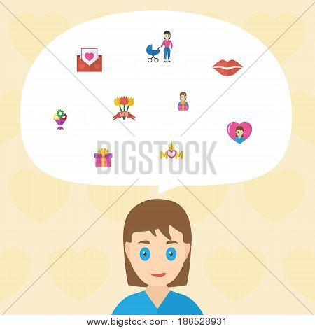 Happy Mother's Day Flat Layout Design With Gift To Mom, Kiss And Queen Symbols. Lovely Mom Beautiful Feminine Design For Social, Web And Print.