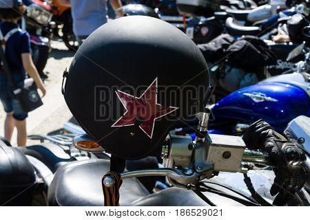 BERLIN - MAY 09 2016: Victory Day in Treptower Park. Motorcycles of Russian motorcycle club