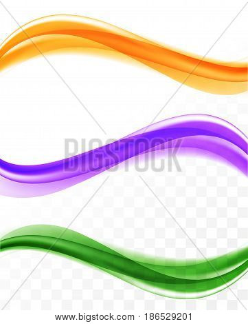 Abstract soft elegant waves set in purple orange green colors and bright smooth dynamic style on transparent background. Vector illustration