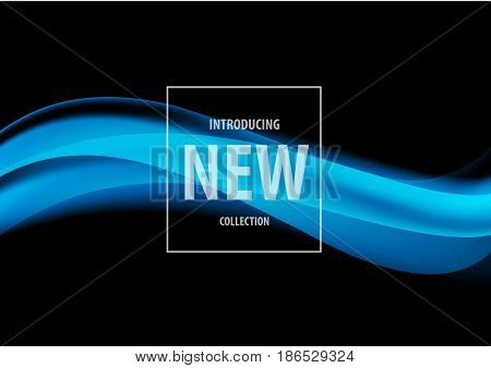 Abstract elegant cover design template with blue soft waves in dynamic smooth style on black background. Vector illustration