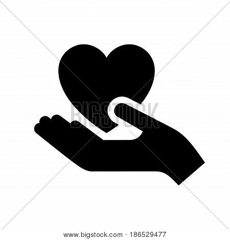 Hand. Black icon isolated on white background