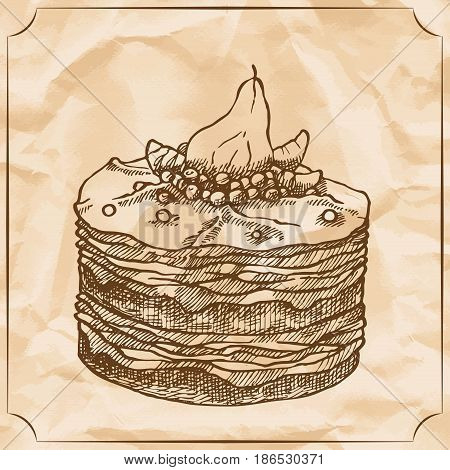 Sweet retro cake with pear and berries. Treat for the birthday. Vector hand drawn illustration. T-shirt printing. Old paper background