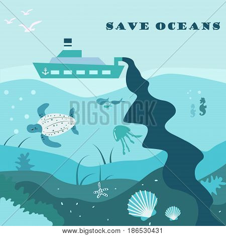 Conceptual eco poster with ocean life and oil carrier polluting water.