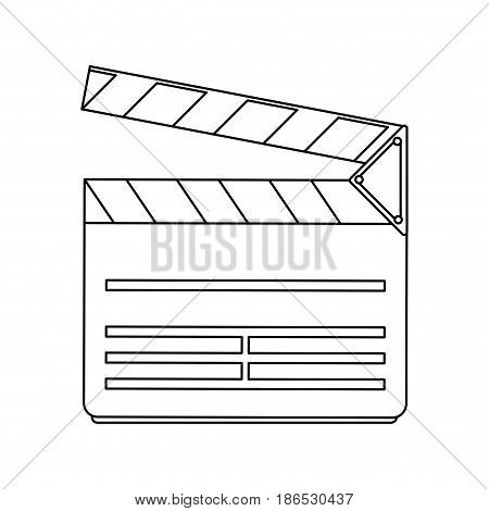 clapperboard movie icon image vector illustration design  single black line