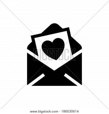 Romantic message. Black icon isolated on white background