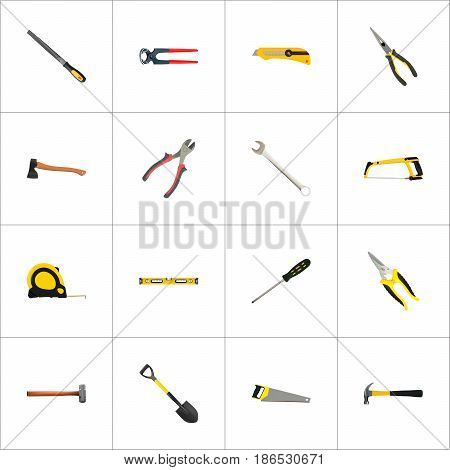 Realistic Handle Hit, Tongs, Sharpener Vector Elements. Set Of Tools Realistic Symbols Also Includes Emery, Sledge, Sawmill Objects.