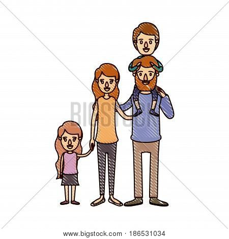 color crayon stripe cartoon big family parents with boy on his back and daugther taken hands vector illustration