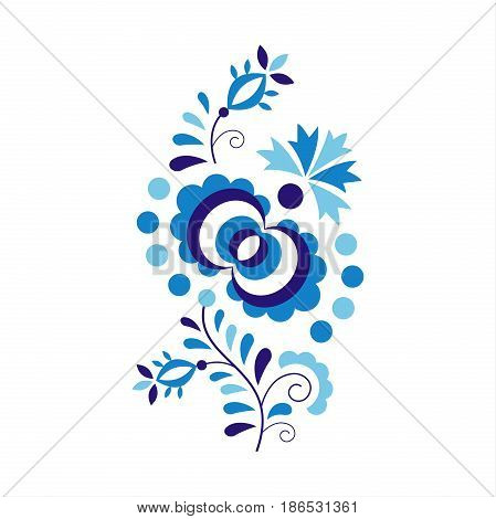 Traditional folk ornament and pattern isolated on white background floral embroidery symbol vector illustration