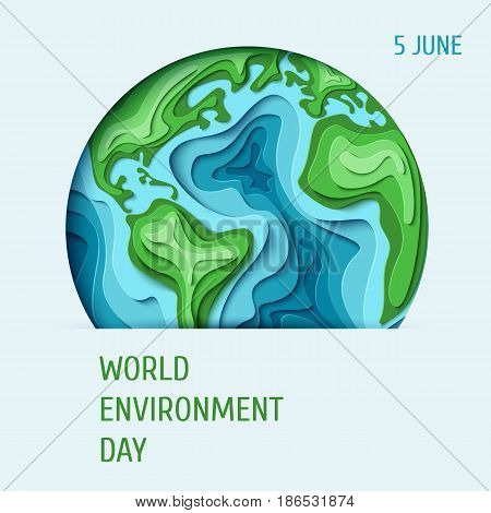 World Environment day concept. 3d paper cut eco friendly design. Vector illustration.  Paper carving Earth map shapes with shadow. Save the Earth concept