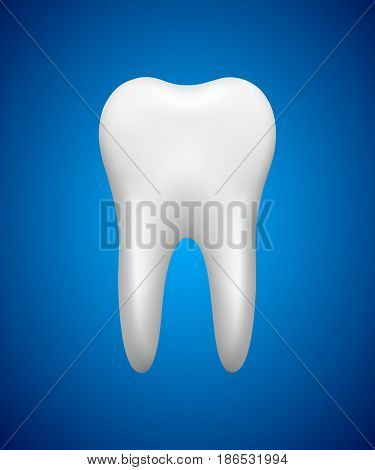White tooth on blue background stomatology icon realistic vector illustration