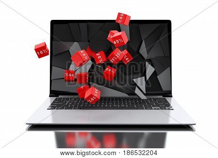 3D Broken Laptop Screen With Discount Icons